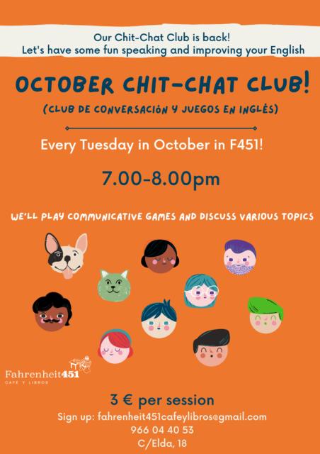 October Chit Chat Club! @ Fahrenheit451 Café y Libros