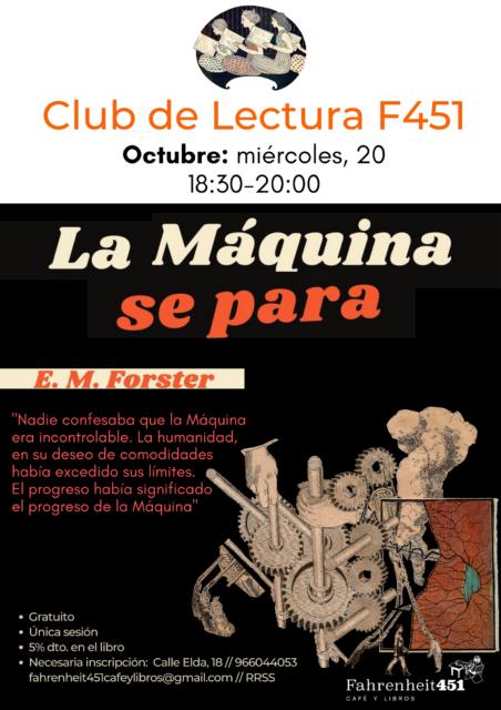 Club de Lectura F451. LA MÁQUINA SE PARA @ Fahrenheit451 Café y Libros